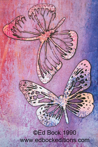 Butterfly, butterflies, pink,purple, Mixed media, art, acrylic, watercolor, fine art, prints, artwork, collage, poster, photo, canvas, giclee, painting, contemporary, modern, abstract, colorful, art prints from Ed Bock, EdBockEditions