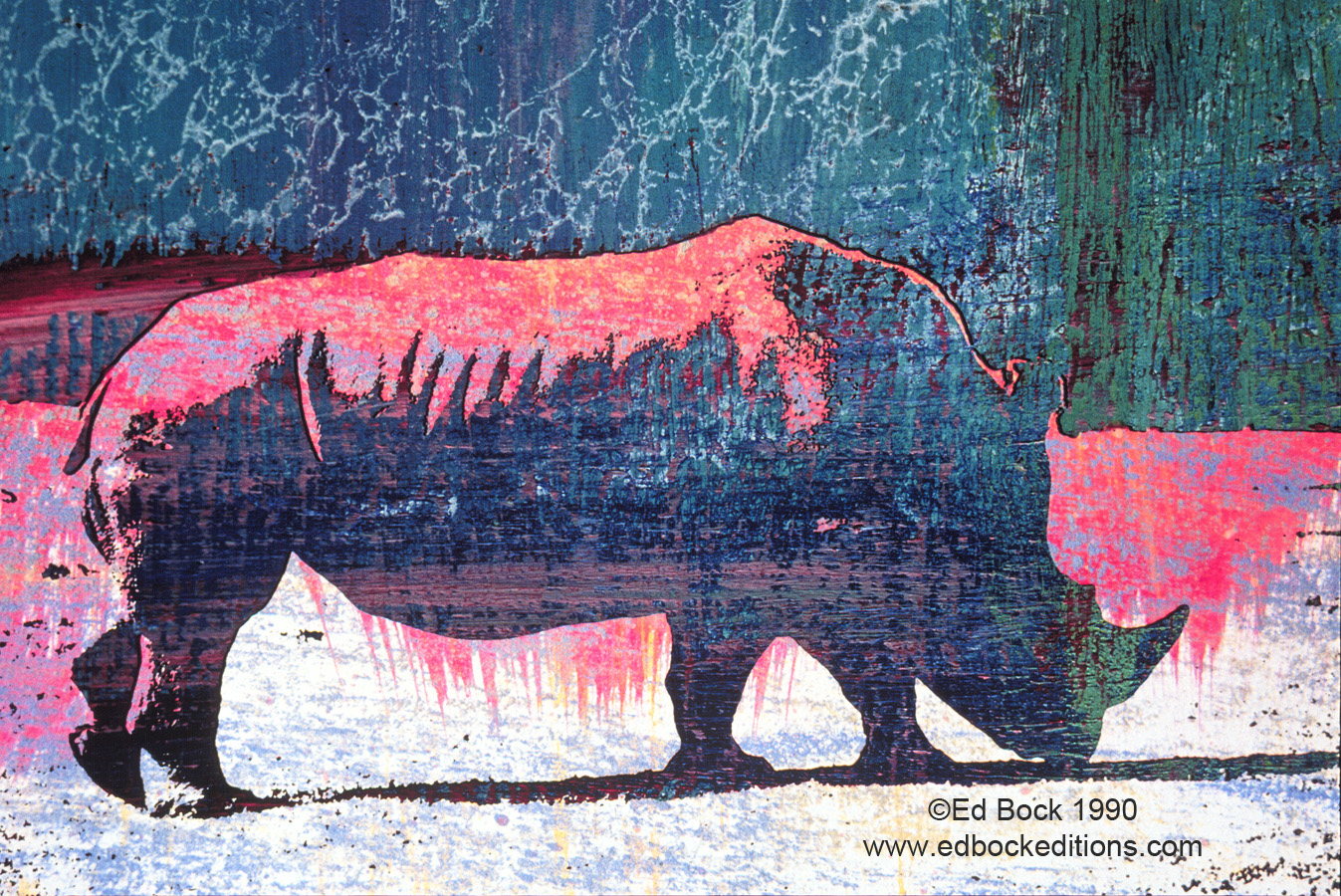 Rhino, Rhinoceros, Blue, animal, green, red, Mixed media, art, acrylic, watercolor, fine art, prints, artwork, collage, poster, photo, canvas, giclee, painting, contemporary, modern, abstract, colorful, art prints from Ed Bock, EdBockEditions